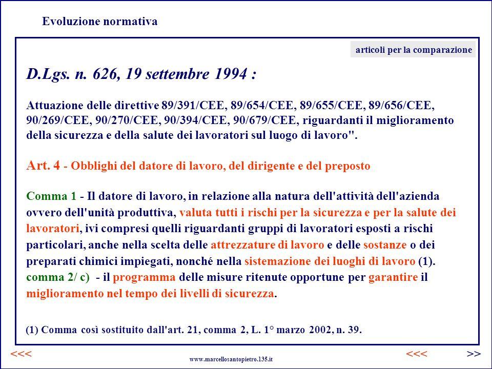 Evoluzione normativa articoli per la comparazione. D.Lgs. n. 626, 19 settembre 1994 :