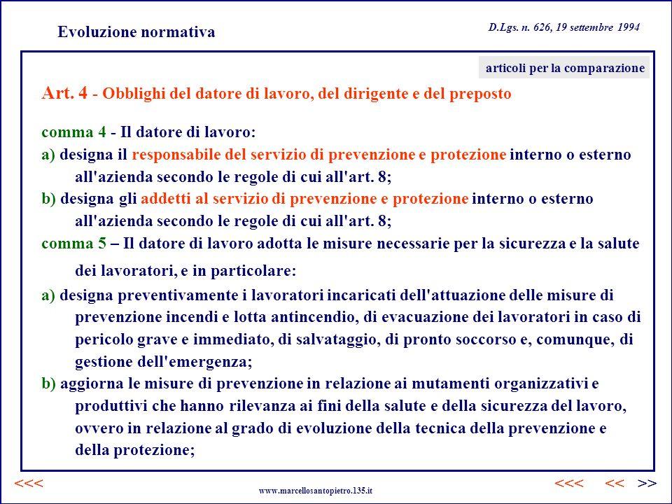 Art. 4 - Obblighi del datore di lavoro, del dirigente e del preposto