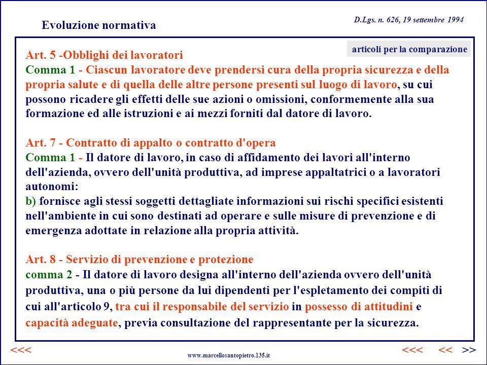Art. 5 -Obblighi dei lavoratori
