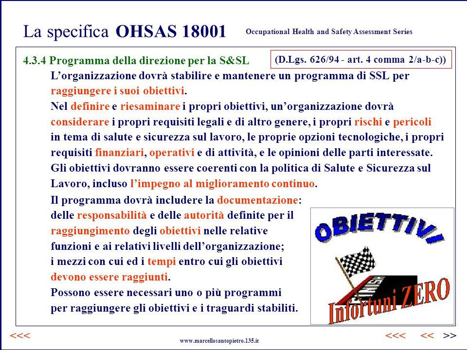 La specifica OHSAS 18001 4.3.4 Programma della direzione per la S&SL