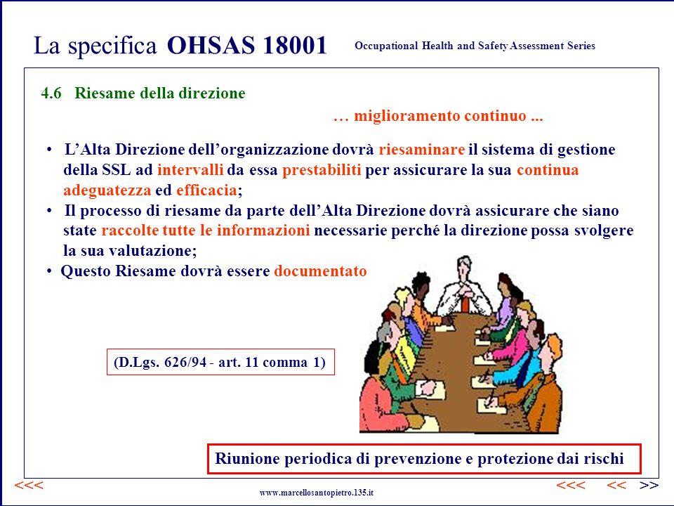 La specifica OHSAS 18001 4.6 Riesame della direzione