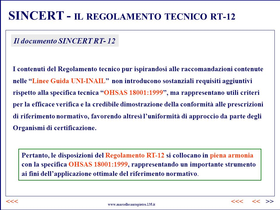 SINCERT - IL REGOLAMENTO TECNICO RT-12