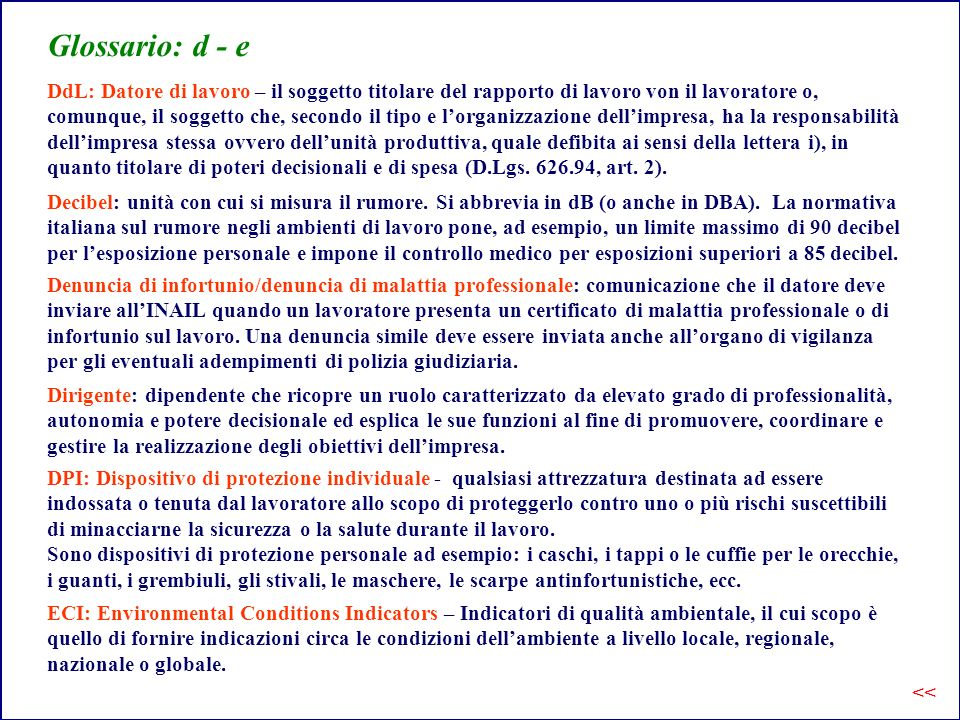 Glossario: d - e