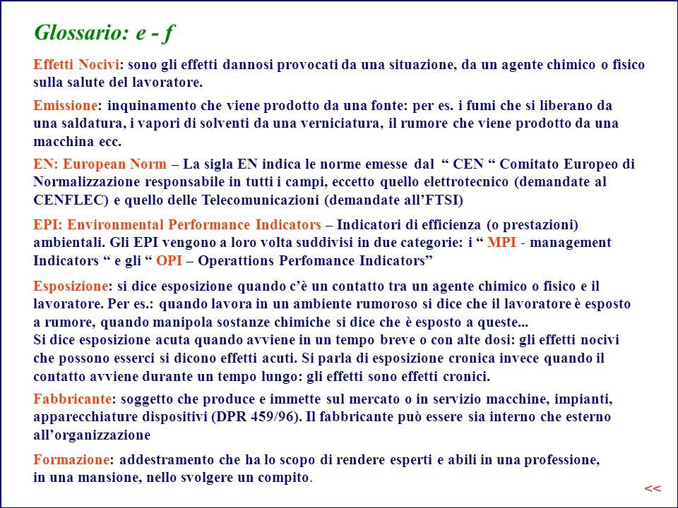 Glossario: e - f Effetti Nocivi: sono gli effetti dannosi provocati da una situazione, da un agente chimico o fisico sulla salute del lavoratore.