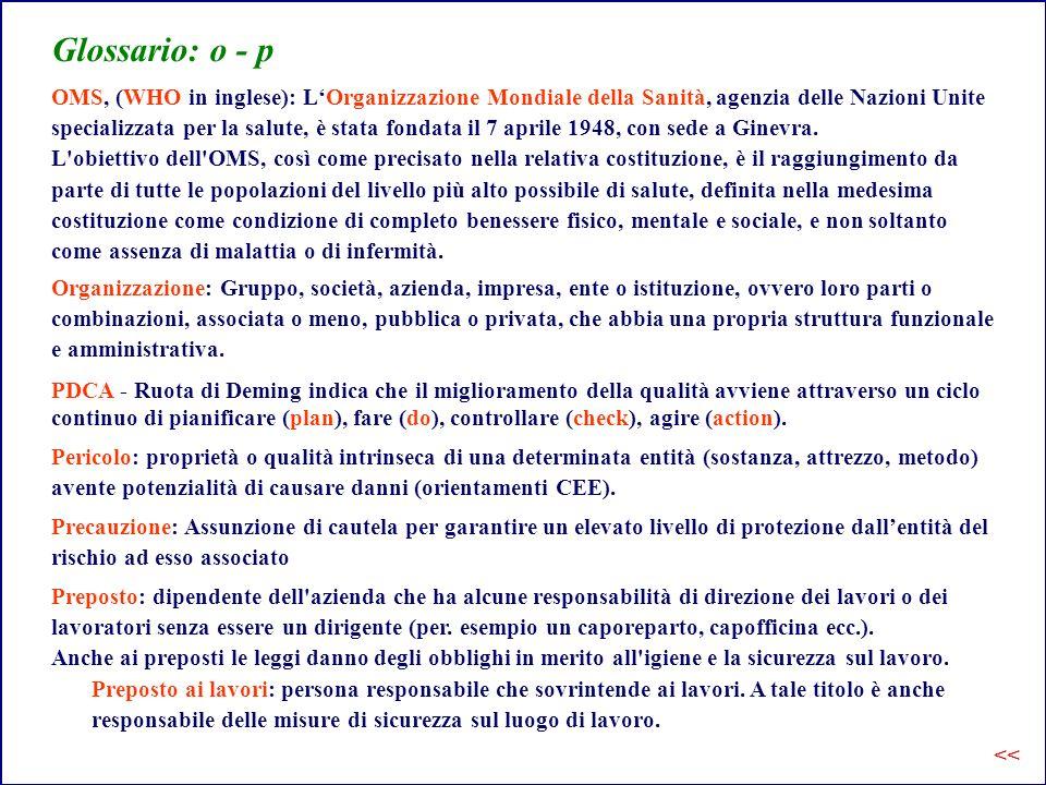 Glossario: o - p OMS, (WHO in inglese): L'Organizzazione Mondiale della Sanità, agenzia delle Nazioni Unite.