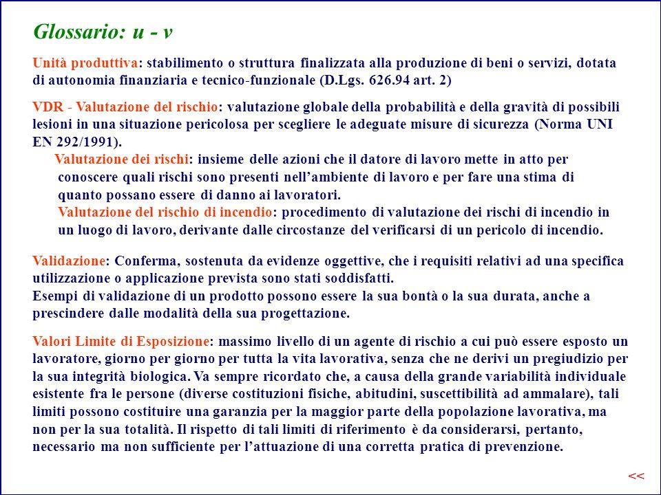 Glossario: u - v Unità produttiva: stabilimento o struttura finalizzata alla produzione di beni o servizi, dotata.