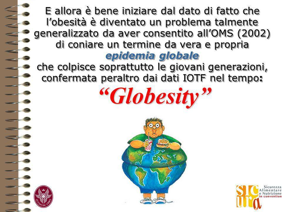 E allora è bene iniziare dal dato di fatto che l'obesità è diventato un problema talmente generalizzato da aver consentito all'OMS (2002) di coniare un termine da vera e propria epidemia globale che colpisce soprattutto le giovani generazioni, confermata peraltro dai dati IOTF nel tempo:
