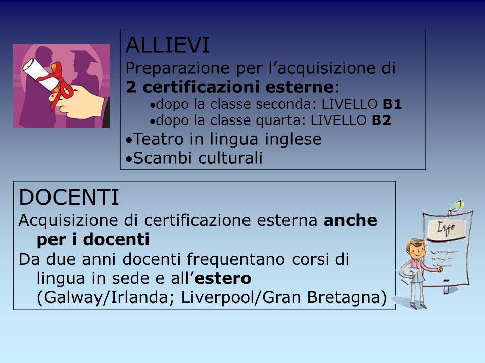 ALLIEVI Preparazione per l'acquisizione di 2 certificazioni esterne: dopo la classe seconda: LIVELLO B1.