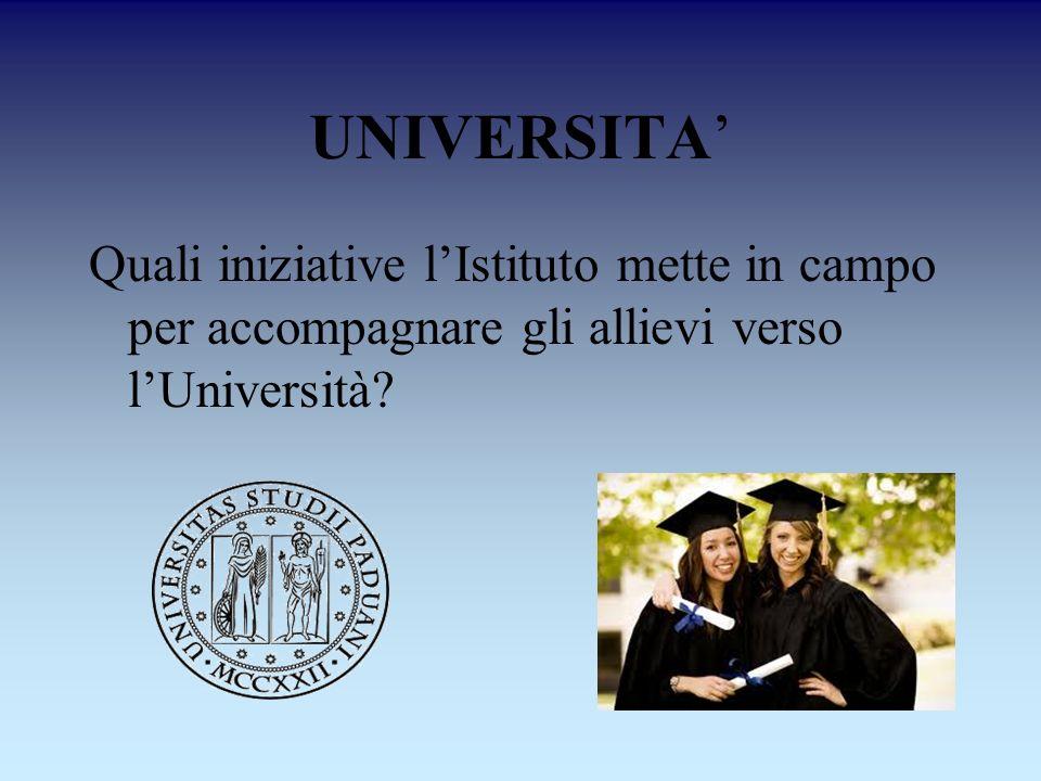UNIVERSITA' Quali iniziative l'Istituto mette in campo per accompagnare gli allievi verso l'Università