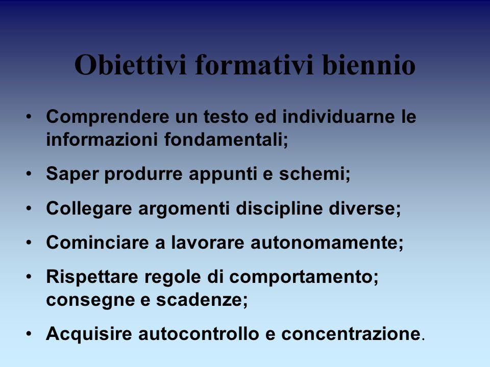Obiettivi formativi biennio