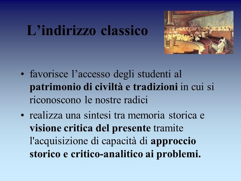 L'indirizzo classico favorisce l'accesso degli studenti al patrimonio di civiltà e tradizioni in cui si riconoscono le nostre radici.