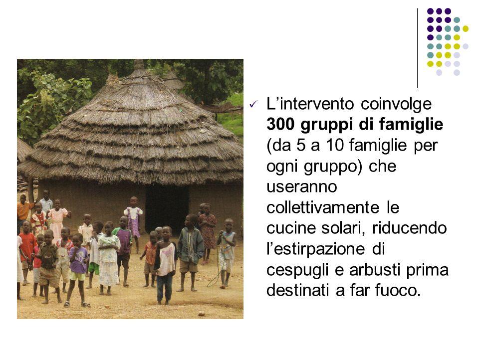 L'intervento coinvolge 300 gruppi di famiglie (da 5 a 10 famiglie per ogni gruppo) che useranno collettivamente le cucine solari, riducendo l'estirpazione di cespugli e arbusti prima destinati a far fuoco.