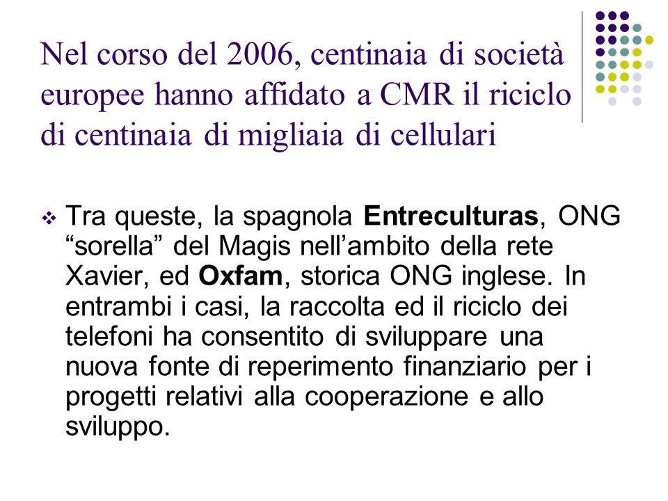 Nel corso del 2006, centinaia di società europee hanno affidato a CMR il riciclo di centinaia di migliaia di cellulari