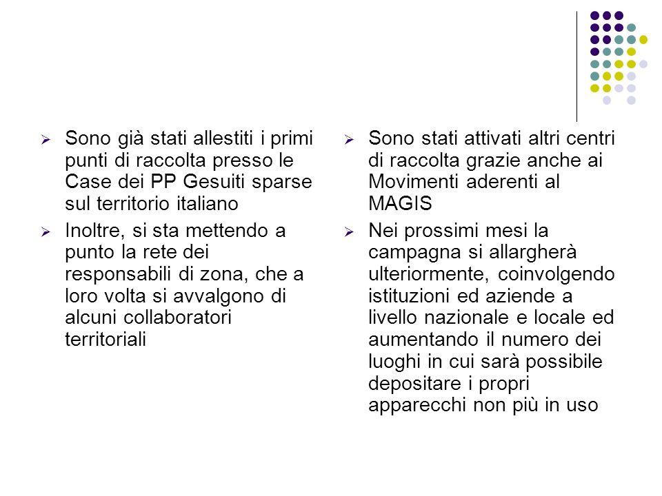 Sono già stati allestiti i primi punti di raccolta presso le Case dei PP Gesuiti sparse sul territorio italiano