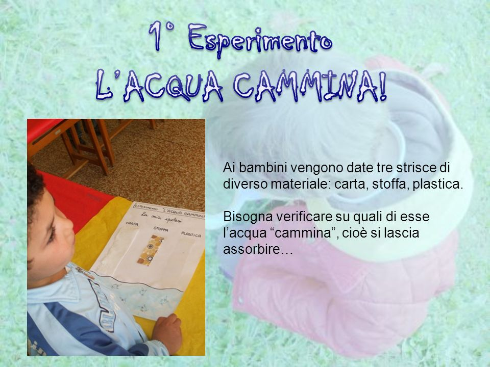 1° Esperimento L'ACQUA CAMMINA!