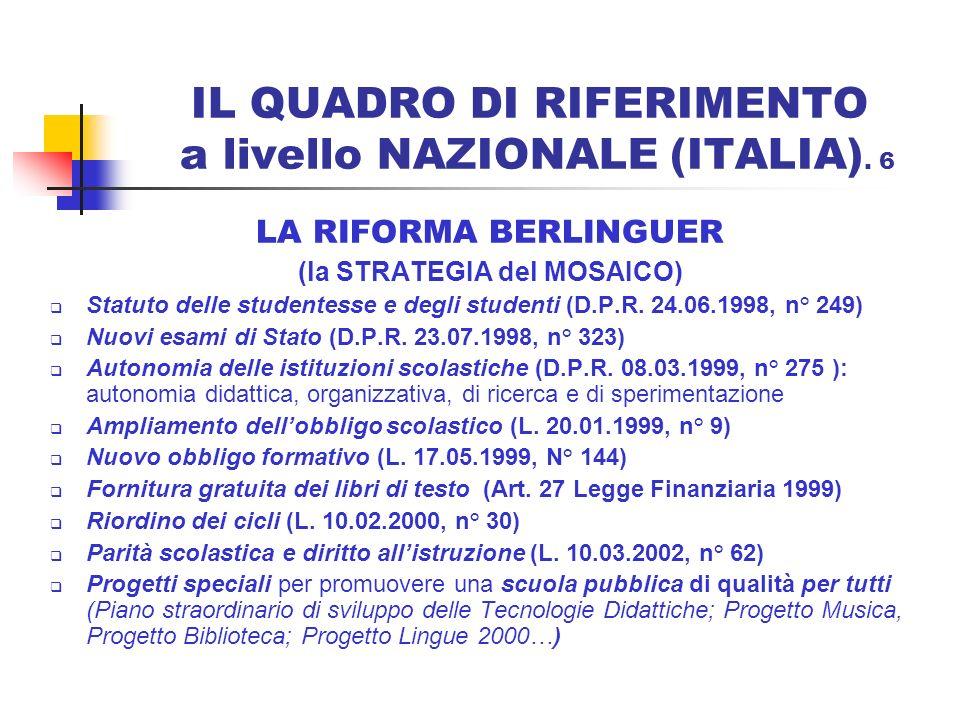 IL QUADRO DI RIFERIMENTO a livello NAZIONALE (ITALIA). 6