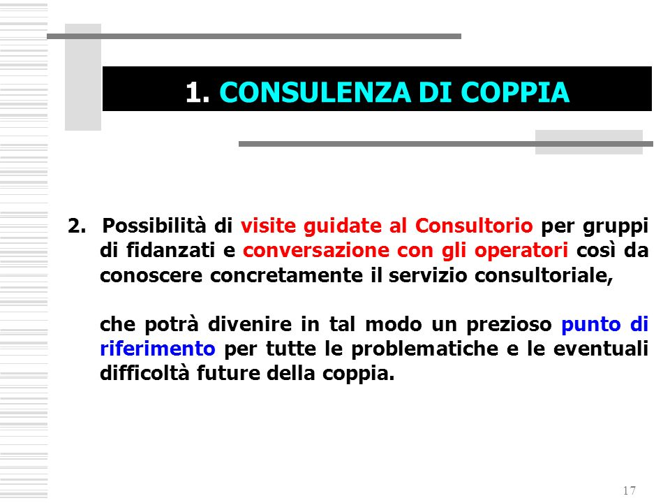 1. CONSULENZA DI COPPIA