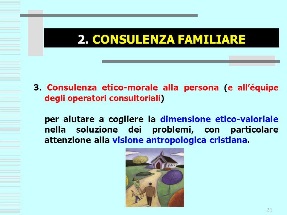 2. CONSULENZA FAMILIARE 3. Consulenza etico-morale alla persona (e all'équipe degli operatori consultoriali)
