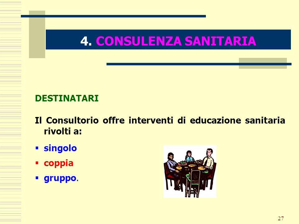 4. CONSULENZA SANITARIA DESTINATARI