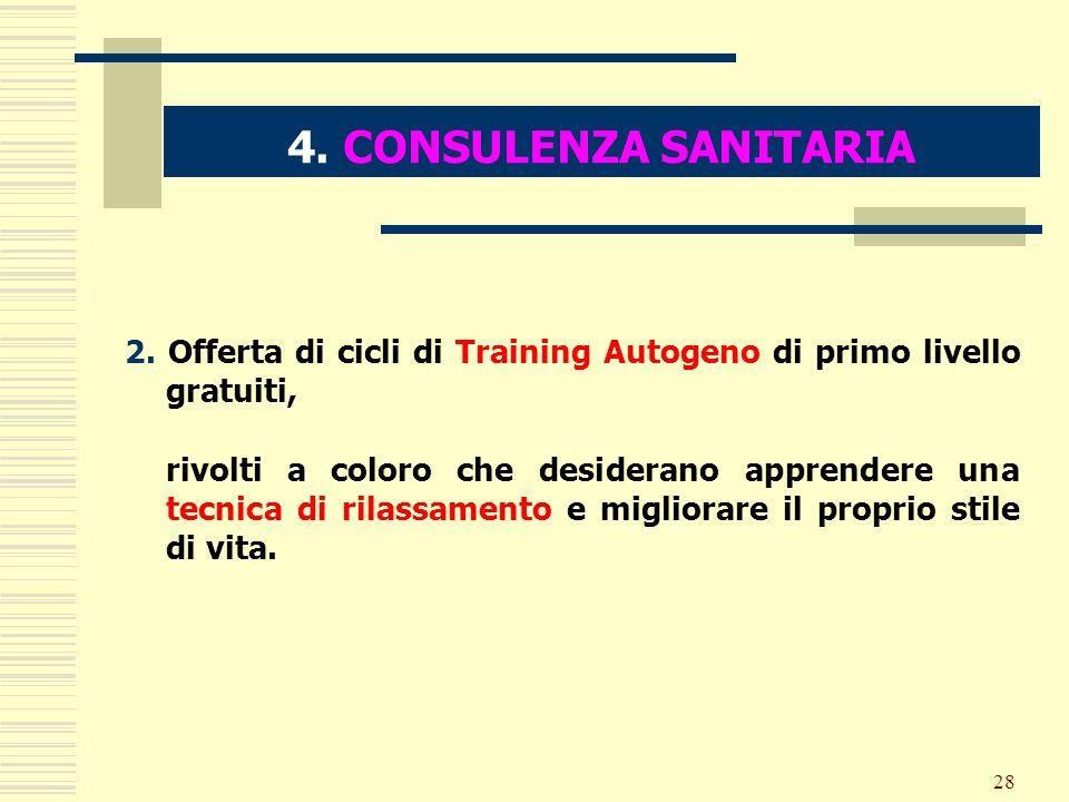 4. CONSULENZA SANITARIA 2. Offerta di cicli di Training Autogeno di primo livello gratuiti,