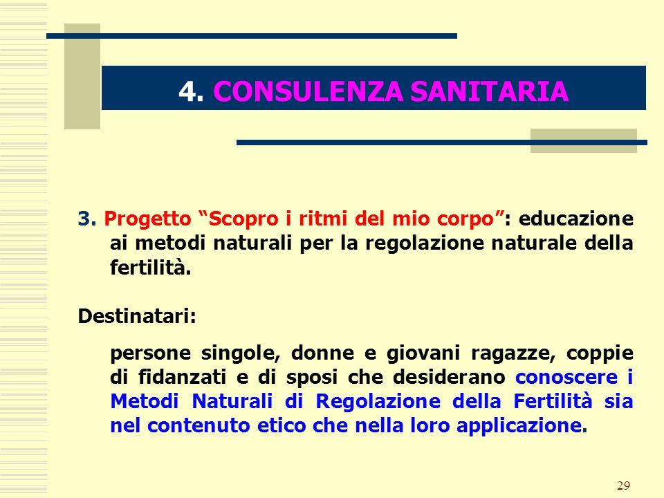 4. CONSULENZA SANITARIA 3. Progetto Scopro i ritmi del mio corpo : educazione ai metodi naturali per la regolazione naturale della fertilità.