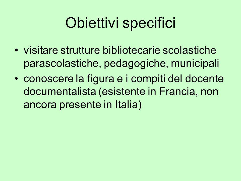 Obiettivi specificivisitare strutture bibliotecarie scolastiche parascolastiche, pedagogiche, municipali.