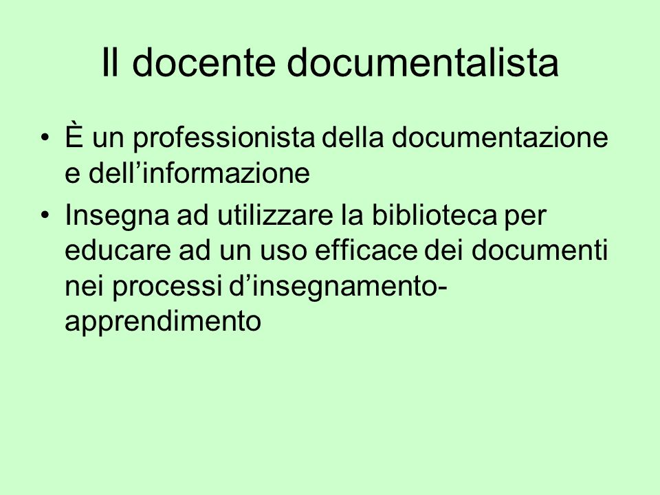 Il docente documentalista