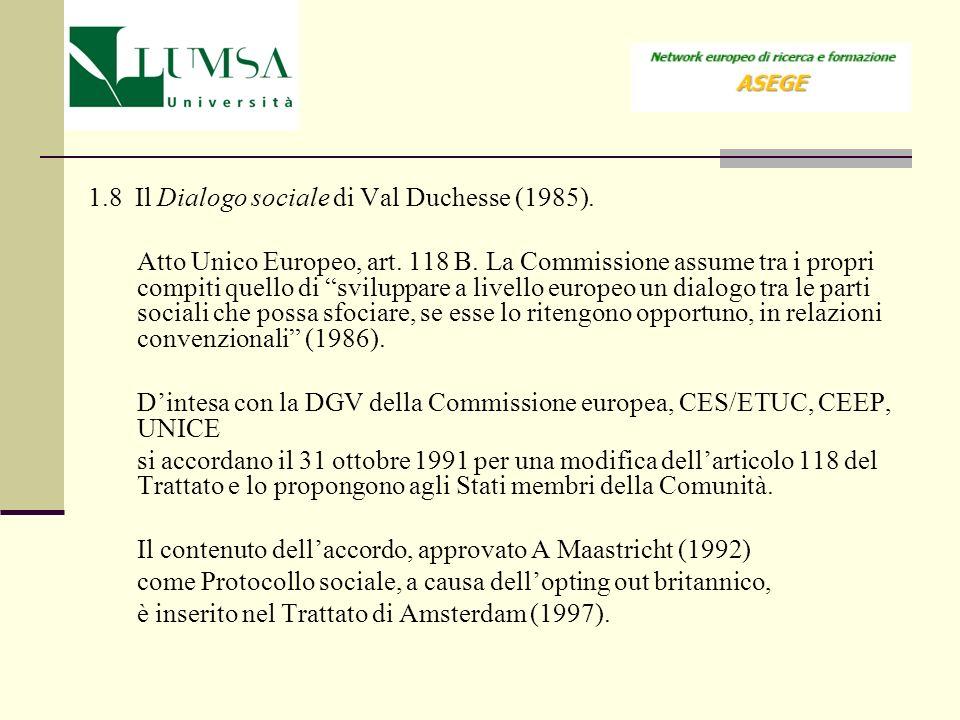 1.8 Il Dialogo sociale di Val Duchesse (1985).