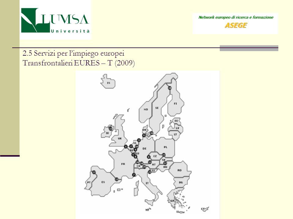 2.5 Servizi per l'impiego europei Transfrontalieri EURES – T (2009)