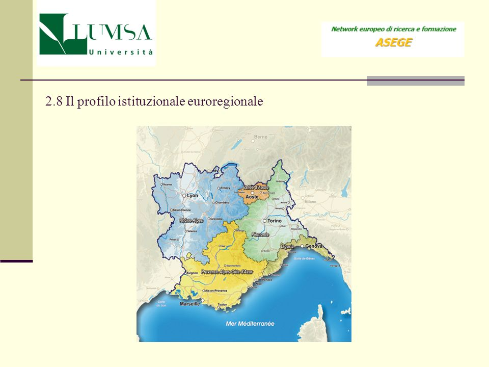 2.8 Il profilo istituzionale euroregionale