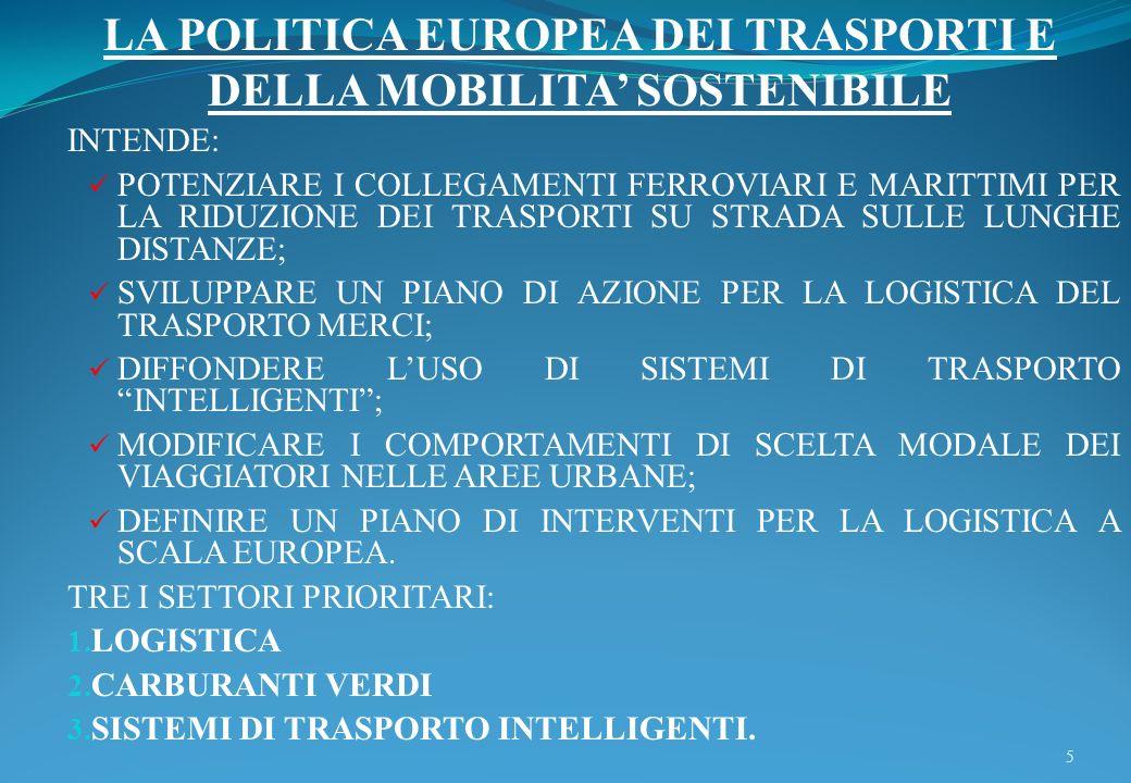 LA POLITICA EUROPEA DEI TRASPORTI E DELLA MOBILITA' SOSTENIBILE