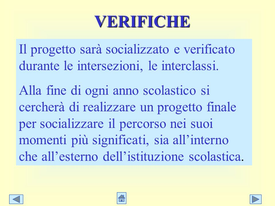 VERIFICHE Il progetto sarà socializzato e verificato durante le intersezioni, le interclassi.