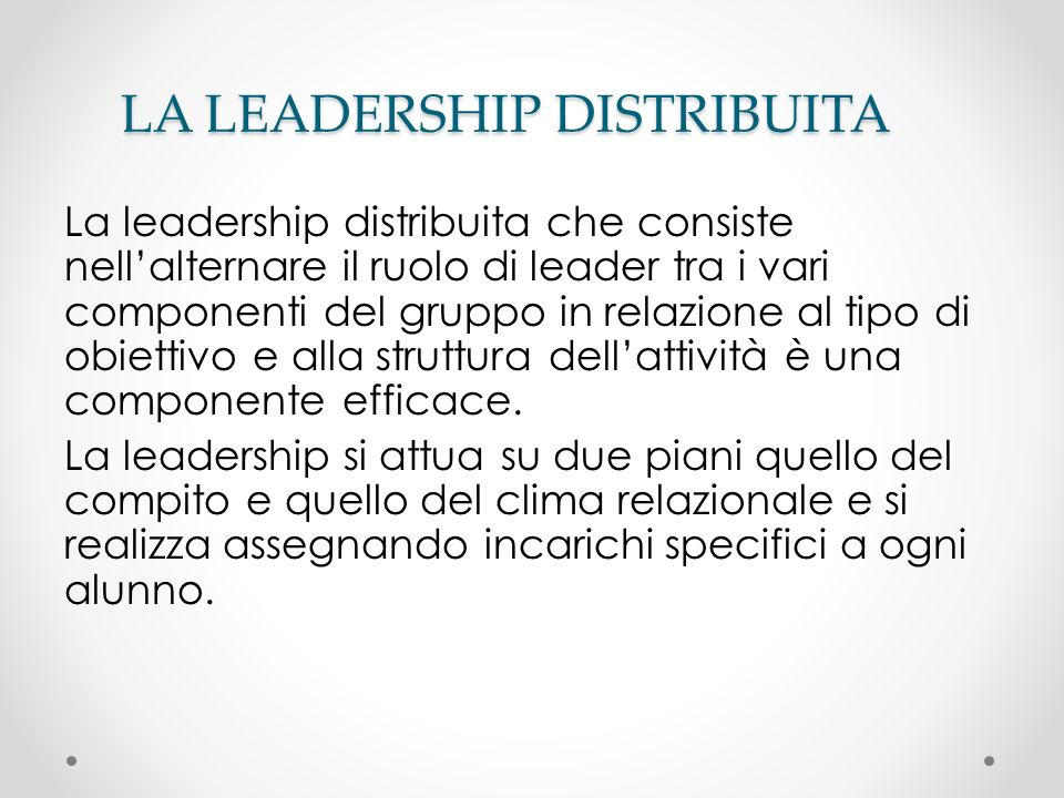 LA LEADERSHIP DISTRIBUITA