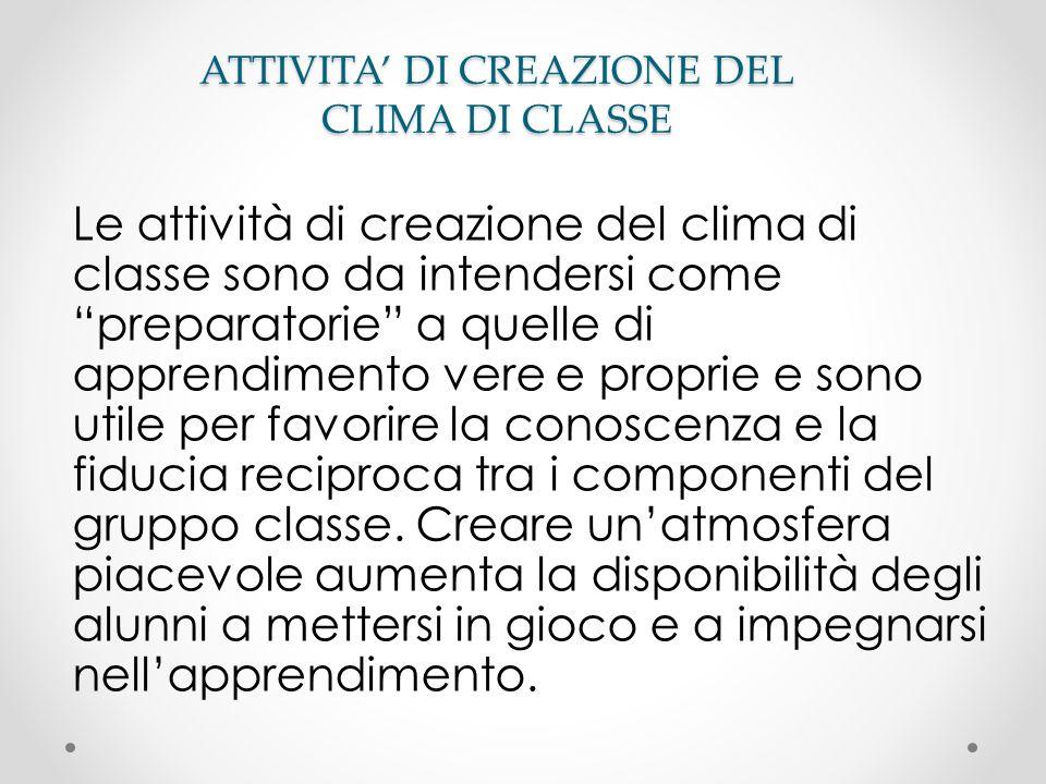 ATTIVITA' DI CREAZIONE DEL CLIMA DI CLASSE