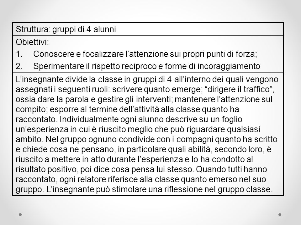 Struttura: gruppi di 4 alunni