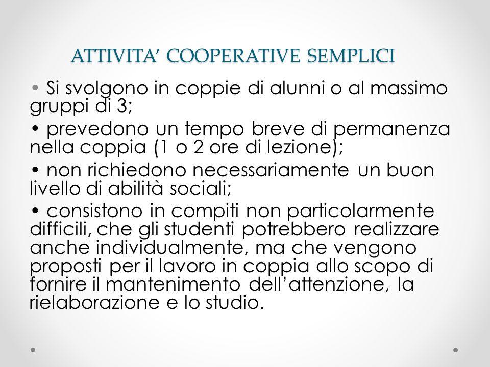 ATTIVITA' COOPERATIVE SEMPLICI
