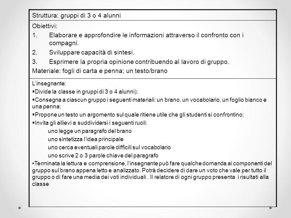 Struttura: gruppi di 3 o 4 alunni Obiettivi: