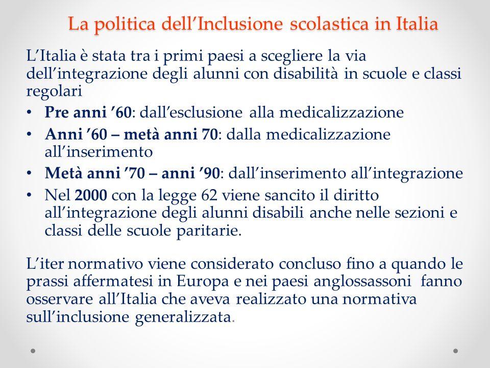 La politica dell'Inclusione scolastica in Italia