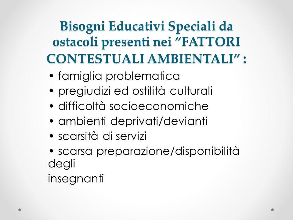 Bisogni Educativi Speciali da ostacoli presenti nei FATTORI CONTESTUALI AMBIENTALI :