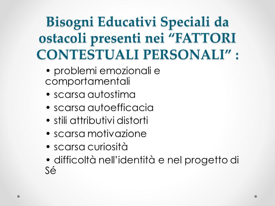 Bisogni Educativi Speciali da ostacoli presenti nei FATTORI CONTESTUALI PERSONALI :