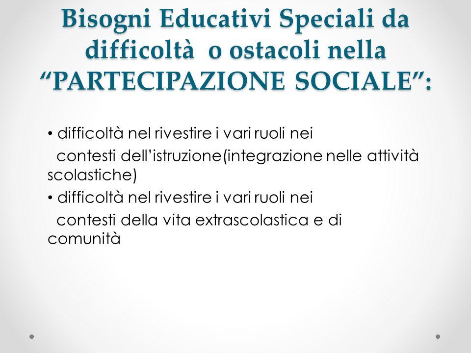 Bisogni Educativi Speciali da difficoltà o ostacoli nella PARTECIPAZIONE SOCIALE :