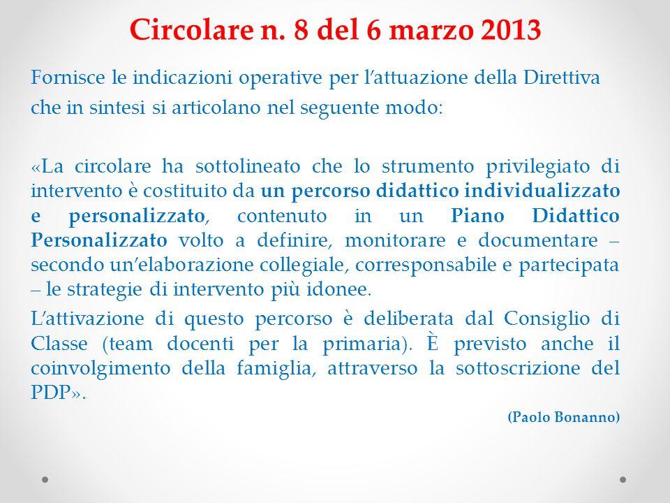 Circolare n. 8 del 6 marzo 2013 Fornisce le indicazioni operative per l'attuazione della Direttiva.