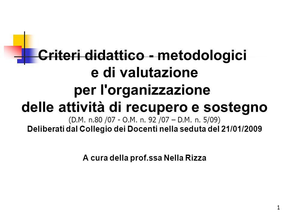 Criteri didattico - metodologici per l organizzazione