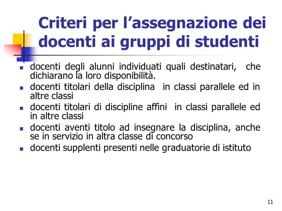 Criteri per l'assegnazione dei docenti ai gruppi di studenti