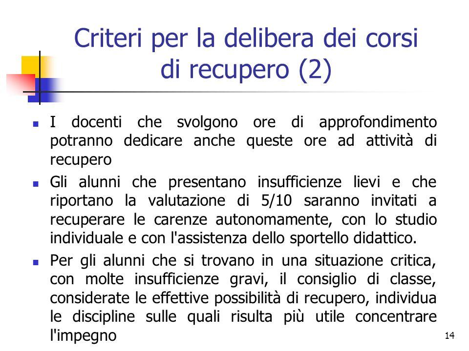 Criteri per la delibera dei corsi di recupero (2)
