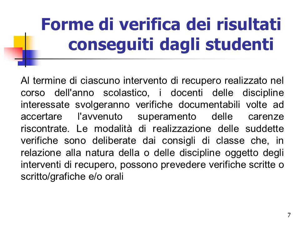 Forme di verifica dei risultati conseguiti dagli studenti