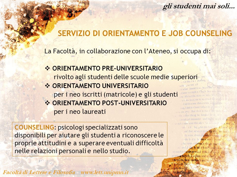 SERVIZIO DI ORIENTAMENTO E JOB COUNSELING