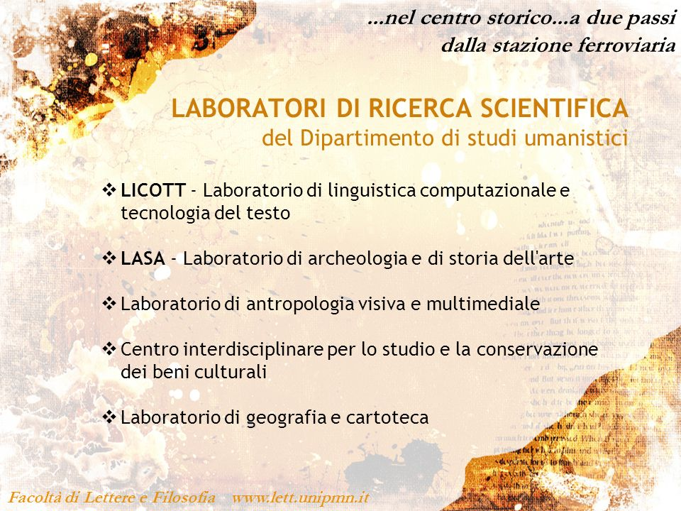 LABORATORI DI RICERCA SCIENTIFICA
