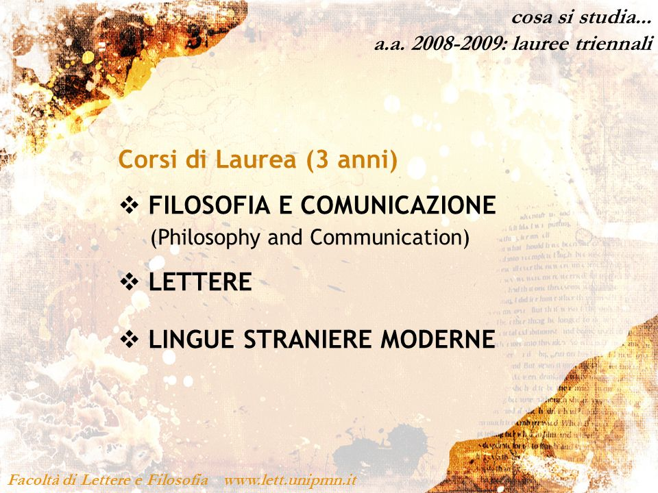 FILOSOFIA E COMUNICAZIONE (Philosophy and Communication)