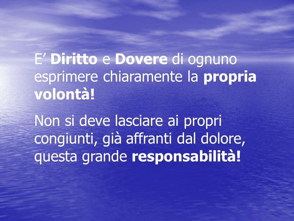 E' Diritto e Dovere di ognuno esprimere chiaramente la propria volontà!